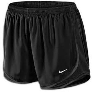 Black nike tempo shorts with black piping